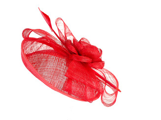 Red Rose Feather Fascinator