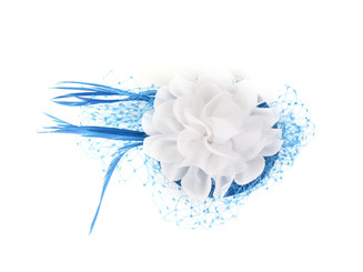White Flower Spiral Fascinator with Feather