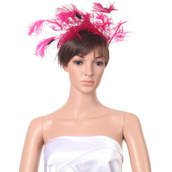FASHIONBULKSALE STUNNING HOT PINK HEAT BEAD FASCINATOR WEDDING/PARTY/ASCOT