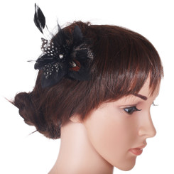 Small black flower fascinator