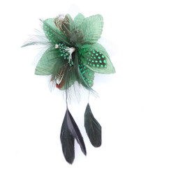 Green flower with black feather fascinator
