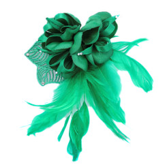 Green ribbon flower fascinator