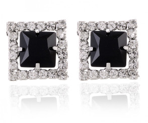Silver Plated Square Cluster Frame Earrings