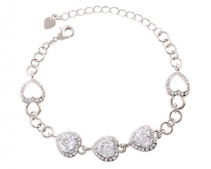Heart Crystal Encrusted Bracelet