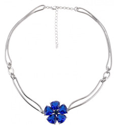 Silver Plated Blue Crystal Daisy Necklace