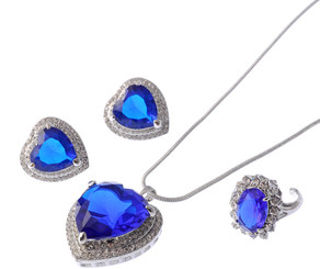 Blue Sapphire Heart Of The Ocean Necklace, Earrings & Ring Set