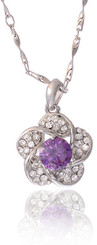 Neoglory Gardenia Purple Czech Crystal White Gold Plated Butterfly Jewellery Set Tv11_Flower Pendant