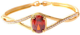 Gold Plated Red Crystal Twisted Bangle