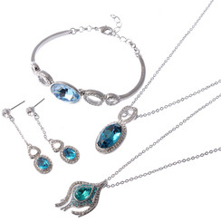 Silver Plated Turquoise Crystal Vintage 4 Piece Necklace Earrings & Bracelet Set