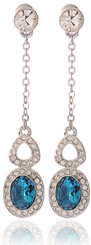 Silver Plated Turquiose Crystal Dangling Vintage Oval Earrings