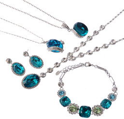Silver Plated Turquoise Crystal 5 Piece Necklace Earrings & Bangle Set