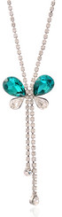 Silver Plated Turquoise Crystal Butterfly Necklace