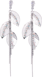 Neoglory 14K White Gold Plated Feather/Leaf Effect Crystal Earrings Xmas/ Gift S2