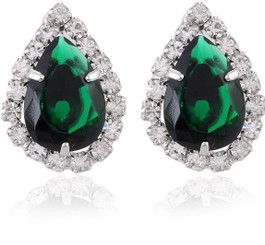 Neoglory Silver Plated/Classic Citrus  Green Crystal Encrusted Earring S50