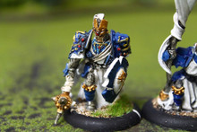 Cygnar Precursor Knights Officer and Standard Lot 11073 Blue Table Painting Store
