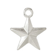 Small Silver Plated Star Charm 16x14mm 10pk