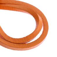 Genuine Leather Jewellery Cord Square 3mm - Orange