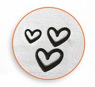 IMPRESSART - 3 Hearts Metal Stamp - 1.5/2/3mm