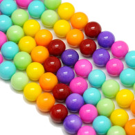 Varnished Baked Glass Beads Rainbow - 10mm