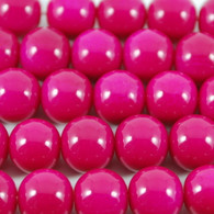 Varnished Baked Glass Beads Bright Pink - 8mm
