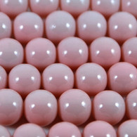 Varnished Baked Glass Beads Baby Pink - 8mm