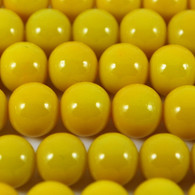 Varnished Baked Glass Beads Yellow - 8mm