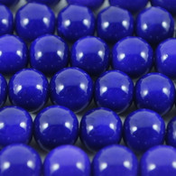 Varnished Baked Glass Beads Navy Blue - 8mm