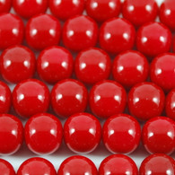 Varnished Baked Glass Beads Cherry Red - 8mm