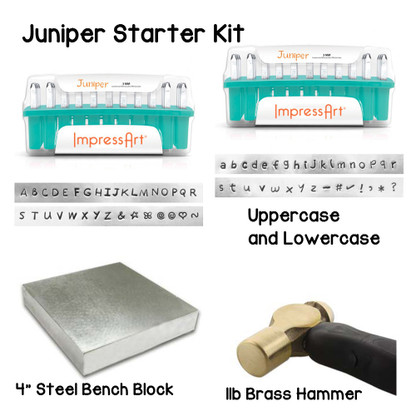 "Juniper Metal Stamping Starter Kit Stamps 3mm in size. Set Includes Uppercase and Lowercase Letters and bonus design stamps, large 4"" steel block and 1lb Brass hammer. Perfect for beginners"
