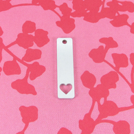 2mm Chunky Aluminium Rectangle With Heart Stamping Tag Blank - 40x10mm