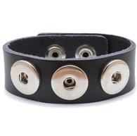 Little Chunks Interchangeable Real Leather Black Triple Chunk Bracelet