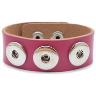 Little Chunks Interchangeable Real Leather Pink Triple Chunk Bracelet