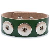 Little Chunks Interchangeable Real Leather Green Triple Chunk Bracelet