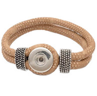 Little Chunks Interchangeable Real Leather Brown Bracelet with Tibetan Silver Elements