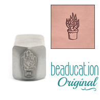 Beaducation Aloe Vera Succulent Design Stamp 4.5x9mm