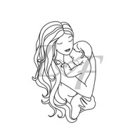 Mother and Baby Metal Design Stamp - 13mm