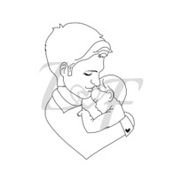 Father and Baby Metal Design Stamp - 13mm