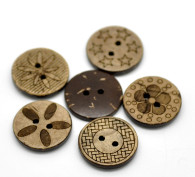Pack of 20 Brown Etched Patterned Coconut 2 Holes Round Buttons 18mm