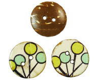 Pack of 20 Natural Coconut Painted Art Deco Inspired 2 Hole buttons 15mm