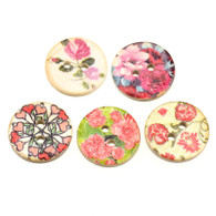 Pack of 20 Floral Printed Coconut 2 Hole buttons 15mm