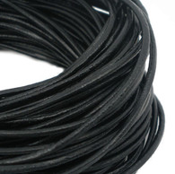 Black Round Real Leather Jewellery Cord 1.5mm