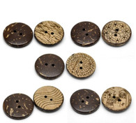 Pack of 10 Brown Etched Patterned Coconut 2 Holes Round Buttons 23mm