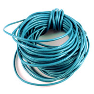 Teal Round Real Leather Jewellery Cord 2mm