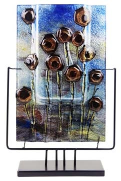 Square Fused Art Glass Vase