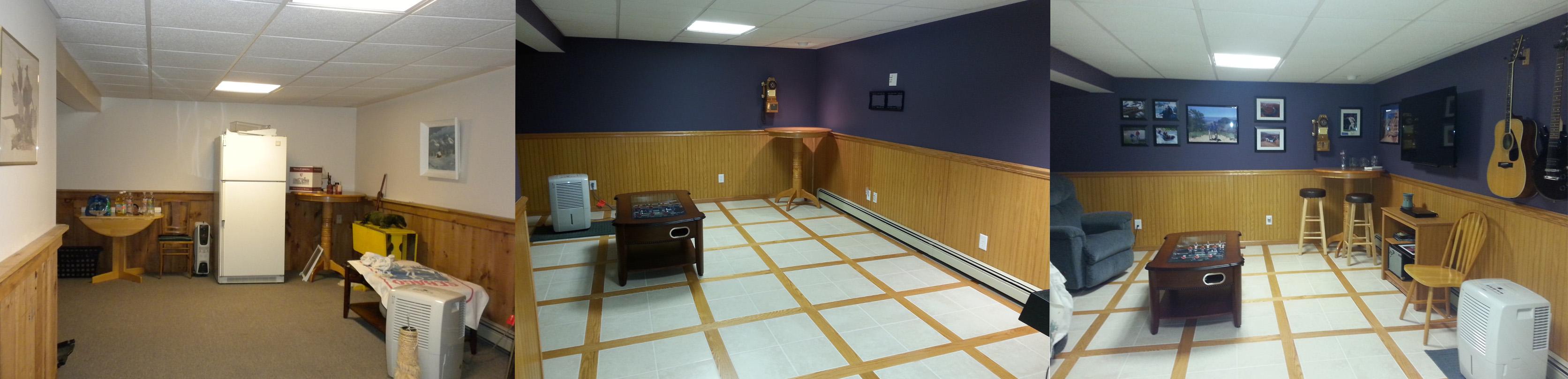 Basement Transformation Using Oak Beadboard Paneling