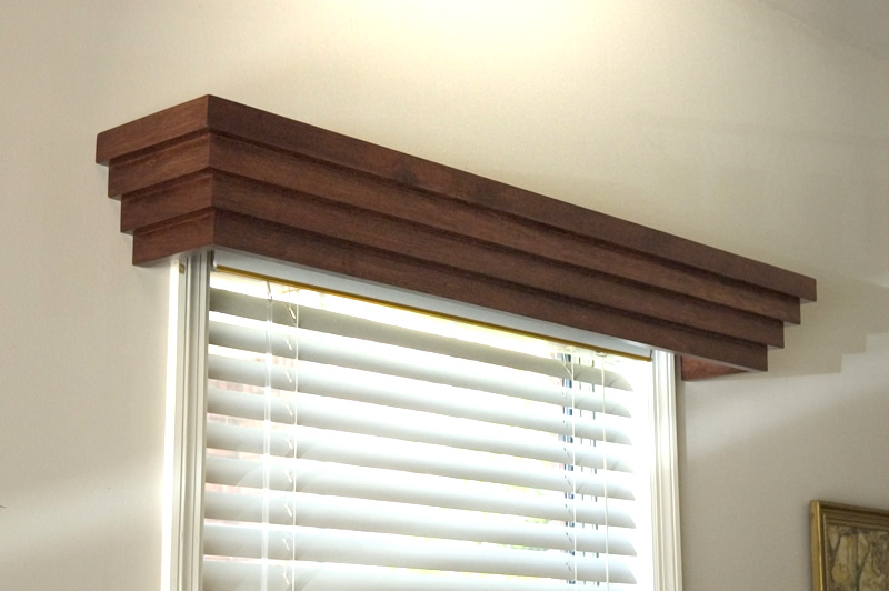 A modern window cornice in wood