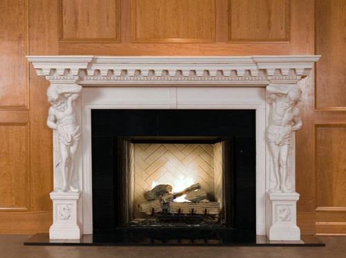 Marble mantel in white limestone, shown with black granite facing
