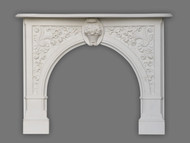 Beautiful sculpted arch is surrounded by beautiful florals in our Andrea English Marble Mantel