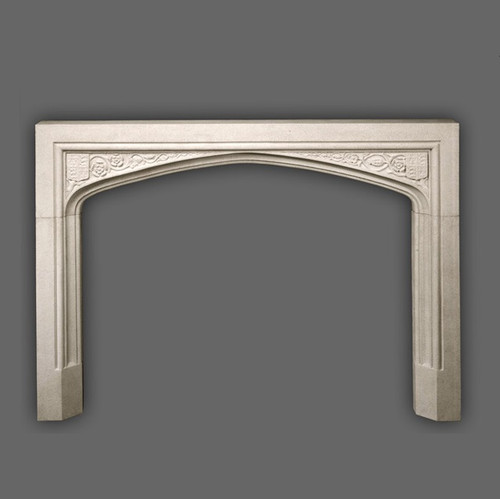 This Limestone Mantel Surround in English Tudor design originates from about 1500. The Coat of Arms include Lions and Fleurs de Lis. Also known as a Gothic Arch.