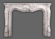 Louis VX styling in beautiful Carrara Marble.  Reproduction Antique Marble Mantels.